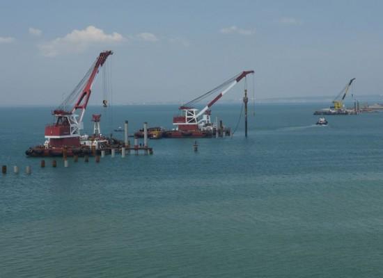 Испытание свай и строительство рабочего моста РМ-1