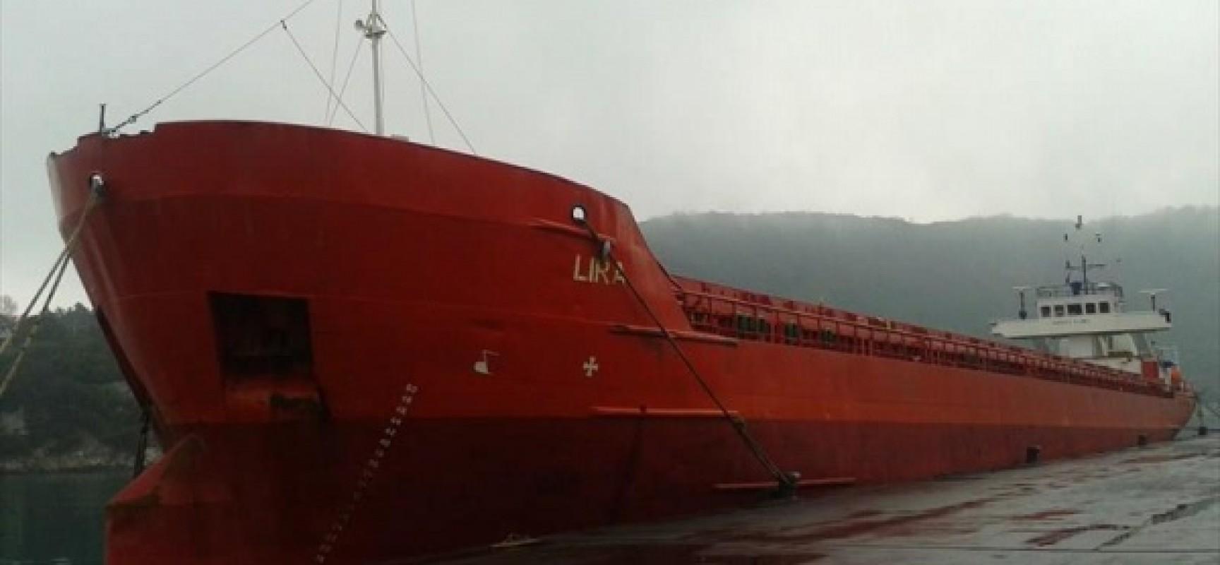 Судно «Лира» столкнулось с опорой технологического моста в Керченском проливе