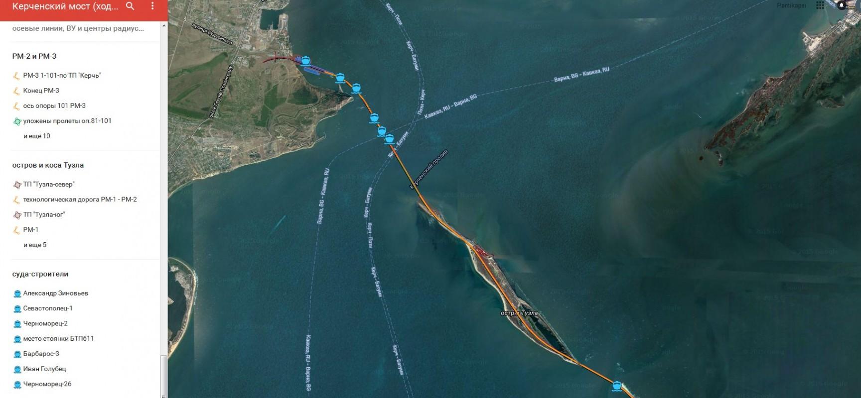 На карте отмечаются элементы проекта «Транспортный переход через Керченский пролив»