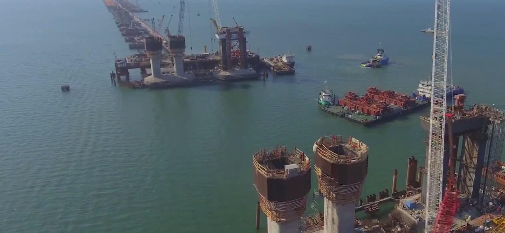 Зоны ограничения полетов над строящимся мостом через Керченский пролив